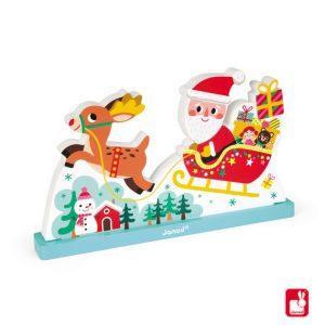 Houten kerstpuzzel Kerstman met arreslee 3D