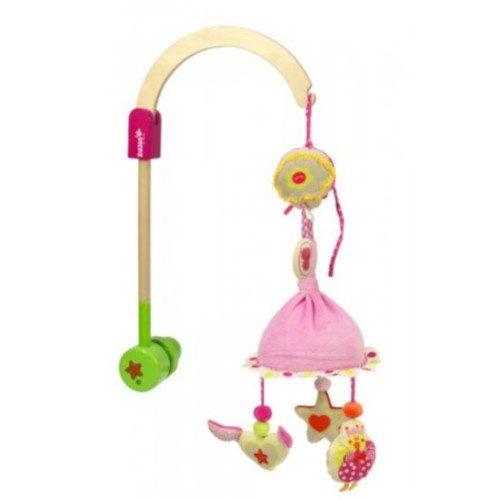 muziekmobiel roze met houten bevestigingsarm