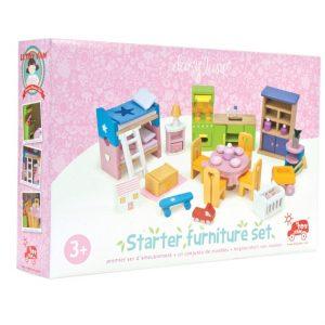 Houten poppenhuis meubeltjes starterset verpakking ME040