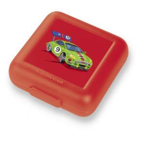 rode lunchtrommel broodtrommel met auto afbeelding