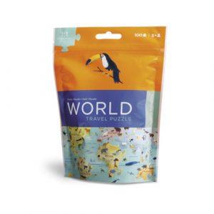 puzzel wereld 100 stukjes reispuzzel