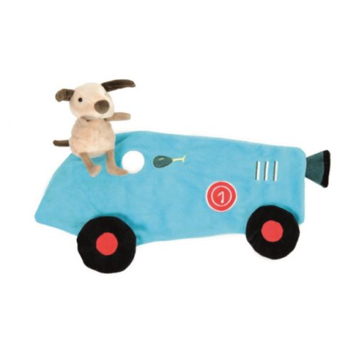 knuffeldoekje met knuffel race auto met hondje