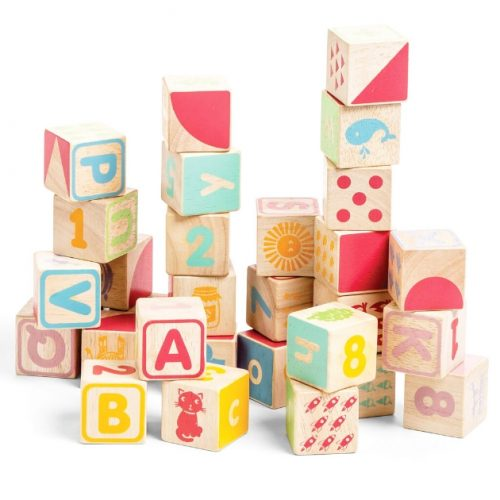 PL101 30 houten blokken met letters cijfers en afbeeldingen