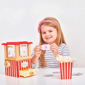 LTV318 houten popcornmachine met kartonnen tickets voor de film