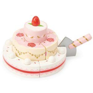 TV329 houten 3 lagen aardbeien taart