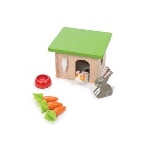 poppenhuis huisdieren set konijn en cavia met hokje