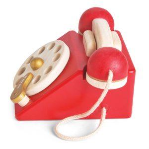 TV323 houten ouderwetse retro draaischijf telefoon om mee te spelen