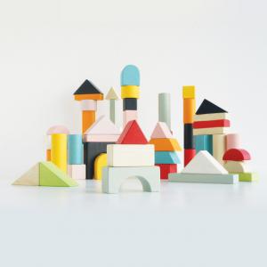 PL135 60 houten gekleurde blokken met opbergtas