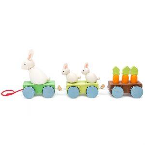 PL026 houten trekfiguur konijnen trein