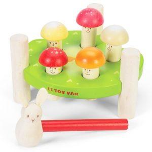 PL092 Houten hamer spel paddenstoelen