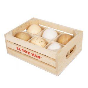 TV190 houten eieren in een kratje